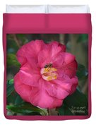 Bee On Pink Camellia Duvet Cover