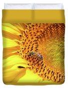 Bee On Sunflower Summer Nature Scene Duvet Cover