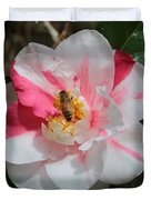 Bee On White And Pink Camellia Duvet Cover