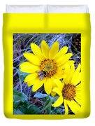 Bee On Wild Sunflowers Duvet Cover