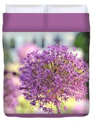 Bee Pollinates Purple Flower At Tivoli Gardens Duvet Cover