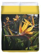 Bee Resting On The Petals Of A Bird Of Paradise  Duvet Cover