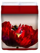 Bee Right Back With Red Flower Duvet Cover