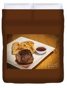 Beef Steak With Potato And Cheese Bake Duvet Cover