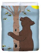 Bees And The Bear Duvet Cover