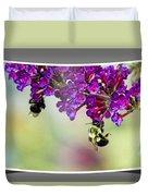 Bees On Butterfly Bush Framed Duvet Cover