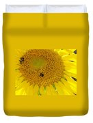 Bees Share A Sunflower Duvet Cover