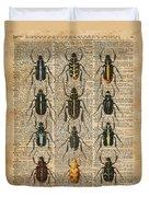 Beetles Bugs Zoology Illustration Vintage Dictionary Art Duvet Cover