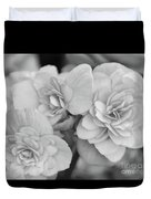 Begonias In Black And White Duvet Cover