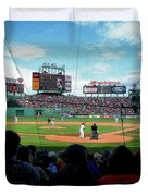 Behind Home Plate At Fenway Duvet Cover