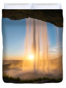 Behind Seljalandsfoss Sunset  Duvet Cover