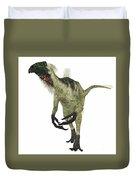 Beipiaosaurus Dinosaur On White Duvet Cover