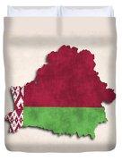 Belarus Map Art With Flag Design Duvet Cover