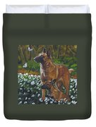 Belgian Malinois With Pup Duvet Cover