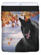 Belgian Shepherd With Autumn Leaves 2 Duvet Cover