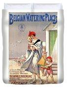 Belgium Ostende Vintage Travel Poster Restored Duvet Cover