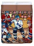 Bell Center Hockey Art Goalie Carey Price Makes A Save Original 6 Teams Habs Vs Leafs Carole Spandau Duvet Cover
