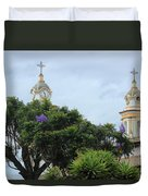 Bell Towers Next To Trees Duvet Cover