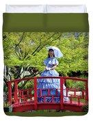 Belle On Red Bridge Duvet Cover