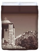 Belltower And Fortress Of Palamidi, Nafplio, Greece. Sepia. Duvet Cover
