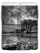 Below The Dam In Black And White Duvet Cover
