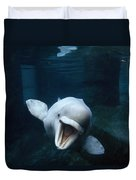 Beluga Whale Swimming With An Open Duvet Cover