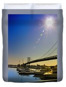 Ben Franklin Bridge From The Marina Duvet Cover