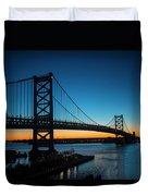 Ben Franklin Bridge In Philadelphia At Dawn Duvet Cover