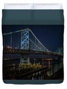 Ben Franklin Bridge In Philadelphia At Night Duvet Cover