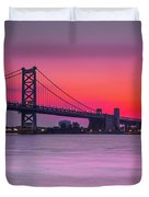Ben Franklin Bridge - Sunrise Duvet Cover