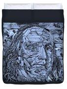 Ben In Wood Cyan Duvet Cover
