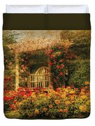 Bench - The Rose Garden Duvet Cover