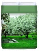 Bench Among.the Blossoms Duvet Cover