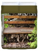 Bench And Wood Pile Duvet Cover