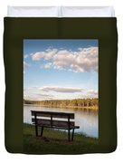 Bench By The Lake Duvet Cover