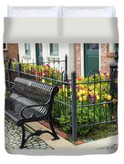 Bench By The Tulips Duvet Cover