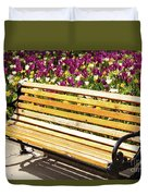 Bench In The Tulips Duvet Cover