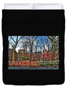 Bench View In Washington Square Park Duvet Cover