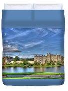 Bench View Of Leeds Castle Duvet Cover