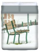 Bench With Snow Duvet Cover