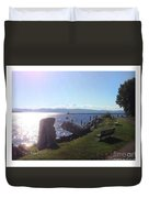 Benches Water Sun And Boat Duvet Cover