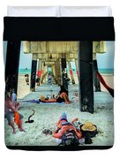 Beneath The Jacksonville Beach Pier  Duvet Cover