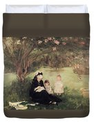 Beneath The Lilac At Maurecourt Duvet Cover by Berthe Morisot