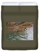Bengal Tiger Wading Stream Duvet Cover