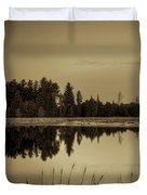 Bentley Pond Pines In Sepia Duvet Cover