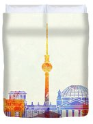 Berlin Landmarks Watercolor Poster Duvet Cover