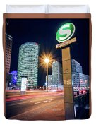 Berlin - Potsdamer Platz Square At Night Duvet Cover