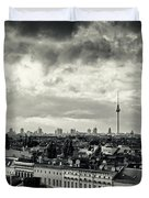 Berlin Skyline And Roofscape -black And White Duvet Cover