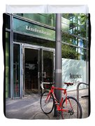 Berlin Street View With Red Bike Duvet Cover by Ben and Raisa Gertsberg