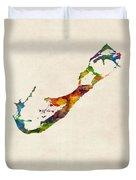 Bermuda Watercolor Map Duvet Cover